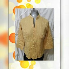 Yellow stretch top shirt with zipper side Yellow stretch top shirt with embedded zipper side  Great condition like new no signs of wear  61% cotton 35% polyester 4% spandex  Measurements laying flat Chest 21 in. Sleeve 12 in. Length 25 in. Christopher & Banks Tops
