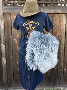 Vtg Women's Fur Shoulder Bag Large Gray Hobo Furry Bag Leather Strap Handmade      eBay