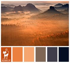 Mountain Sun - Burnt Orange, peach, blush, grey, Slate grey, Blue, Navy - Designcat Colour Inspiration Pallet