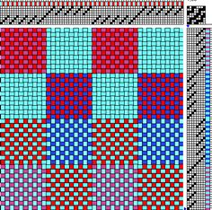 The patterns in patterned double weave are created by the exchange of areas in one layer of cloth with another layer of the same cloth. Amazing patterns can be woven even on a simple loom using a ...