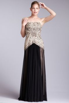 Strapless Beaded Two-Tone Gown by Sue Wong on @HauteLook