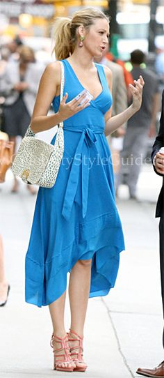 Seen on Celebrity Style Guide: Blake Lively wore the �blue streak� silk Marc by Marc Jacobs Miro Dress while filming scenes for �Gossip Girl� in New York City (July 17, 2012).