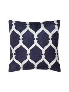 Chandra Cushion by Linen House in Navy, available at Forty Winks.