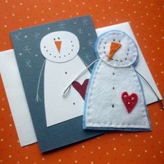 Můj Fler: SADA SNĚHULÁK - a good example of taking a simple graphic and translating it into a felt creation Christmas Makes, Christmas Snowman, Winter Christmas, Christmas Projects, Felt Crafts, Holiday Crafts, Felt Snowman, Snowman Cards, Diy Pour Enfants