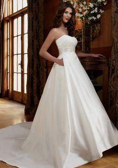 Ageless Scoop Ball Gown Taffeta Empire Waist Sleeveless Wedding Dress - Lunadress.co.uk