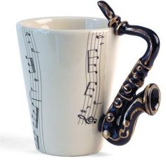 #Saxophone handle, gold tea cup Yep. Everyone needs this to take a great start of a day.