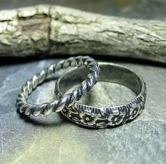 Country Garden - set of two pattern wire stacking rings  ...from LavenderCottage on Etsy