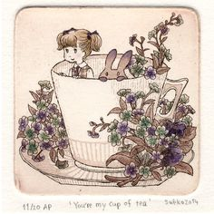Illustration, Art Print, Rabbit, Home decor, Children, Fine art, Etching, Limited edition, Original graphic art - You're my cup of tea