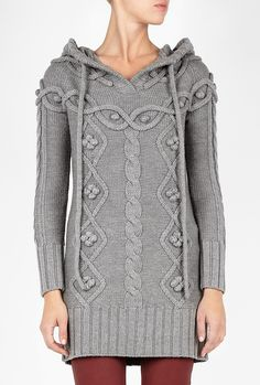 Gray Grey Cornwall Cable Knit Sweater