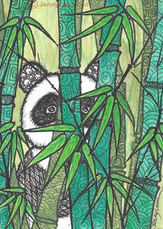 "Aceo Original Zentangle Panda Drawing ""Peek A BOO"" 