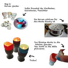 Eierschalen-Kerzen Step 2: das Wachs gießen