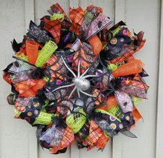 Halloween Wreath. Spider Web Wreath. Deco Mesh Wreath!! Check it out at https://www.facebook.com/WreathsByJackieDevlin