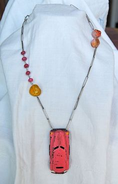 Pink toy car Necklace Vintage assemblage antique by LaCapraCanta, $118.00