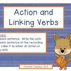 """Free - Included are 32 task cards with a focus on Action and Linking Verbs.   Students are asked to:   1. Read each sentence.   2. Identify the verbs in each sentence.   3. Label the verbs as either """"action"""" or """"linking""""."""