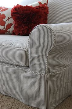 Accent Chairs With Slipcovers.Cream Grey Stripe Chair Bing Images Slipcovers For . Red Barrel Studio Damann Barrel Chair And Ottoman - Accent Chairs Ideas For Home Reupholster Furniture, Furniture Slipcovers, Slipcovers For Chairs, Slipcover Sofa, Best Couch Covers, Couch Slip Covers, Striped Couch, Ticking Stripe, Custom Slipcovers