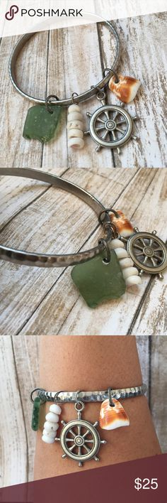 Hammered Nautical Sea Bracelet Hammered Nautical Sea Bracelet. Seaglass and seashells hand picked from the Island of Maui. Silver metal fashion bracelet. Lizzy & Jane Co Jewelry Bracelets