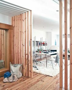 42 creative room divider ideas for your home – # for # rough… – room divider ideas - Modern Faux Murs, Fake Walls, Room Divider Shelves, Decorative Room Dividers, Wooden Room, Interior Architecture, Interior Design, Wooden Door Design, Cool Rooms