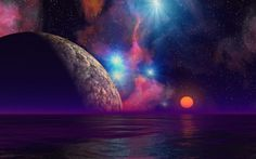 Ocean Planet and Starry Night Wallpaper