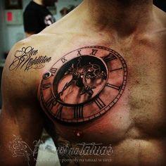 3d tattoo | Galeria tatuaży z zegarem
