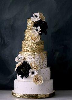 gold black and blush glittery wedding cakes
