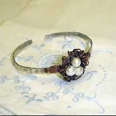 Birds Nest Bangle- sterling silver- copper and fresh water pearls