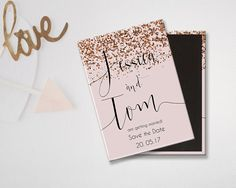 Rose Gold Glitter Save the Date magnet.  From Weddingraphics on Etsy