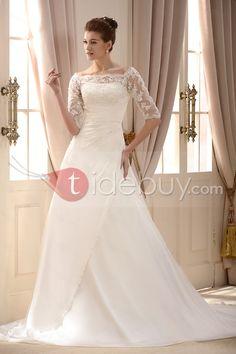 肩チャペルトラインプリーツ花嫁ウェディングドレスオフファッションAライン/プリンセス