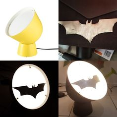 Batman, lamp, ikea hack, DIY, home Step 1: Buy the lamp from ikea Step 2: Spray the lamp woth matt black spray paint Step 3: Cut out the bat symbol from thin aluminium using tin snips Step 4: Sand down the edges of the bat symbol Step 5: Glue the bat symbol to the lamp