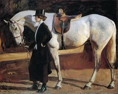 Sir Alfred Munnings - My Horse Is My Friend: The Artist's Wife and Isaac painted circa 1922.