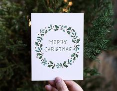 Merry Christmas Wreath Card | Winter Happy Holidays Season's Greetings Holly Pine Tree Christmas Tre