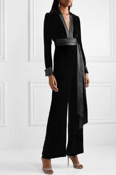 c624f85990d3 Diane von Furstenberg - Satin-trimmed velvet jumpsuit