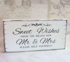 Sweet Table Wishes Candy Bar Vintage Wedding Sign Free Standing In Home Furniture Diy Supplies Venue Decorations Ebay