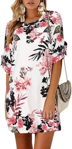 Women mini dress swing tunic is casual basic fashionable vacation style, brilliant suitable for work-out, party, trip, vacation, school, club, cocktail, casual daily wear. YOINS Women Mini Dresses Summer T-Shirt Tunics Self-tie Half Sleeves Solid Crew Neck Blouse Dress Vacation Style, Blouse Dress, Mini Dresses, Summer Dresses For Women, Daily Wear, Swing Dress, Half Sleeves, Tunics, Dress Outfits