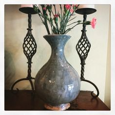 vase vessel or flower pot green blue grey colour by Sherriffclay