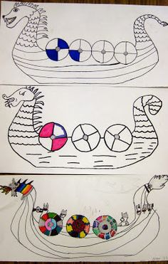 Cassie Stephens: In the Artroom: Grade Viking Ships Viking Ship, Viking Art, Viking Runes, Viking Woman, Vikings Ks2, Vikings For Kids, Elementary Art Rooms, Horrible Histories, Asian History