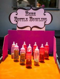 Baby shower activities, ideas Baby bottle bowling.