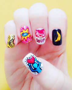 Warhol / Haring / Lichtenstein inspired Pop Art nails! Pop Art Nails, Nail Art, 80s Nails, Weekend Is Over, Nails Inspiration, Cute Nails, Manicure, Make Up, Warhol