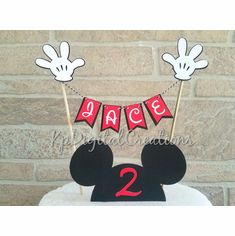 Mickey cake topper NOW available in my shop. Mickey Mouse Cake Topper, Mickey Mouse Clubhouse Cake, Mickey Mouse Centerpiece, Mickey Mouse Decorations, Mickey Cakes, First Birthday Balloons, Mickey Mouse Birthday Cake, Mickey Party, Minnie Mouse Party