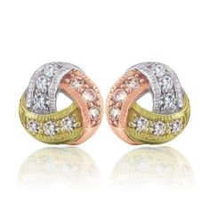 Tri Tone Rose and yellow Gold Vermeil Twisted Love Knot Silver Stud Earrings