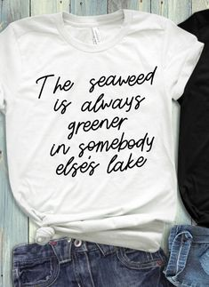 """Disney-Ariel-Little Mermaid inspired """"The Seaweed is Always Greener"""" quote Women's racerback-Bella + Ariel Mermaid, Mermaid Shirt, Disney Little Mermaids, The Little Mermaid, Disney Shirts, Disney Outfits, Green Quotes, Disney Day, Super Quotes"""