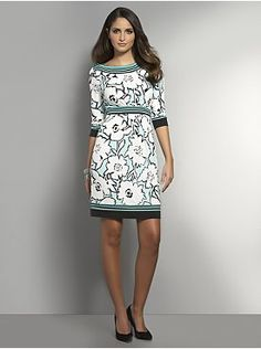 Floral Print Matte Jersey Dress with Button Detail