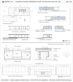Farnsworth House drawings plan                                                                                                                                                                                 Más