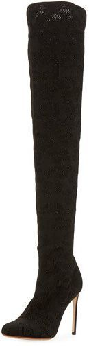 Francesco Russo Perforated Stretch-Fabric Tall Boot, Black
