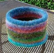 Free Pattern for Knitted Felted Bowl with Bottom Welt | Deborah Does Navel-Gazing