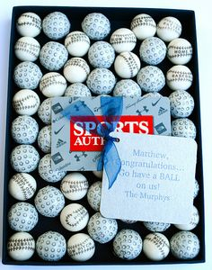 cute way to give a sports gift card...with a bunch of baseball gum balls and chocolate golf balls.