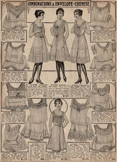 Corset Covers Envelope Chemise Crepe de Chine Nainsook RARE 1917 Catalog Page | eBay
