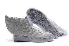huge discount 40035 5ebc6  Cheap Adidas Shoes-2014 New Arrive Adidas JS Wings Unisex All White  Running Shoes