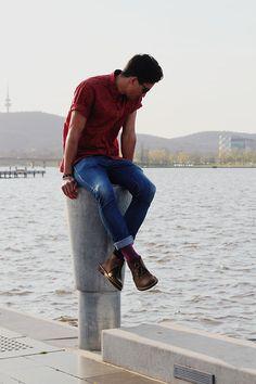 once-twice.com blogger Leon wears Wrangler denim jeans