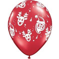 "12 X Christmas Santa & Rudolph Ruby Red 11"" Qualatex Latex Balloons"