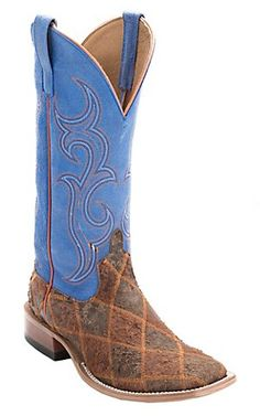 Anderson Bean® Horse Power™ Men's Tan & Brown Zombie Patchwork w/ Blue Top Square Toe Western Boots | Cavender's